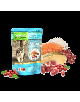 Natures Menu Saquetas Gato - frango, salmão e bacalhau - Senior 100g